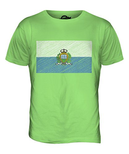 CandyMix San Marino Kritzelte Flagge Herren T Shirt Limettengrün