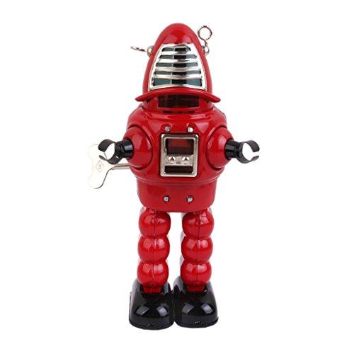 Juguete de Cuerda Robot Rojo Estaño Diseño Vintage