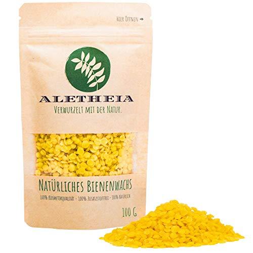 ALETHEIA Bio Bienenwachs Pastillen-Natürlich und Rein-Laborgeprüft für Kosmetik, Handcreme, Kerzen, Bienenwachstücher, Holz-, Möbel-, und Lederpflege 100g,200g und 500g in umweltschonender Verpackung