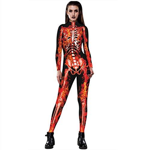 Halloween Kostüm Arbeit - Lenfesh Damen Halloween Unheimlich Gespenstisch Bodycon Party Cosplay Kostüm Overalls (M, Orange 1)