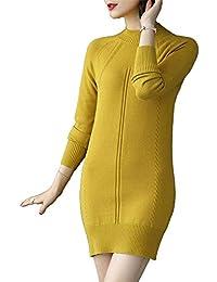 Shirloy Tricot Chandail mi-Long Femme Mince Minceur Paresseux Vent Chandail  à Manches Longues pour f8423a60bc8