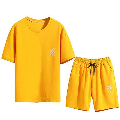 UINGKID Herren Jogginganzug Trainingsanzug Overall Jumpsuit Shirt Hose Fitness Sommer Neue Freizeit Mode Druck Kurzarm Shorts Sport Sets Premium Bib Overall