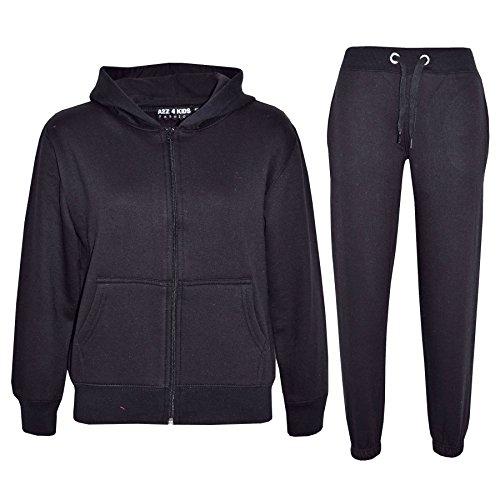 A2Z 4 Kids® Kinder Mädchen Jungen Plain Farbe Trainingsanzug Kapuzenpullover - Schwarz, 13 Jahre