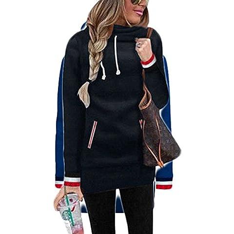 Damen Kaputzenpullover Hoodie Pullover Frühling Herbst Sweatshirt Langärmelig Kaputzen Outerwear Sweatshirt Solid Color Oberteile Langer Mantel (S, Schwarz)