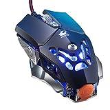 Hunpta@ V9 2400DPI LED verkabelt Mechaniker Hintergrundbeleuchtung Gaming Mouse 6-Tasten-Makro-Programmierung (Schwarz)