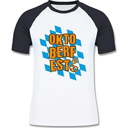 Oktoberfest Herren - Oktoberfest Rauten Brezel - zweifarbiges Baseballshirt für Männer Weiß/Navy Blau