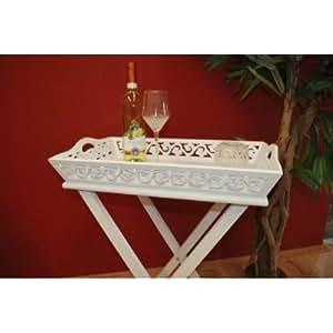 tabletttisch tablett mit gestell landhaus wei beistelltisch antik k che haushalt. Black Bedroom Furniture Sets. Home Design Ideas