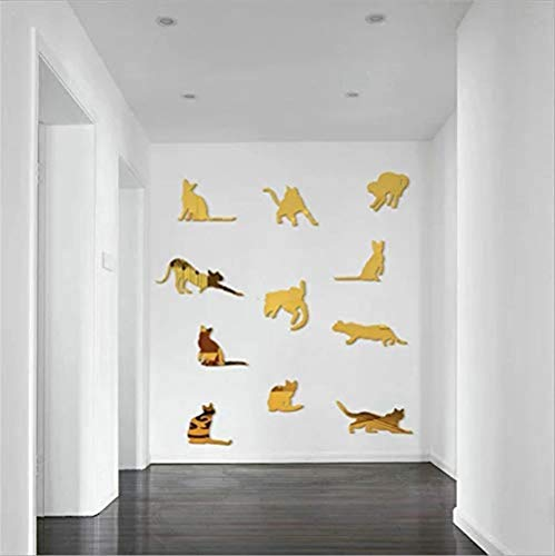 Wandtattoos Wandbilder Spiegel Wandaufkleber Katze Cartoon Acryl Spiegel Wandtattoos Kinderzimmer Schlafzimmer Wohnzimmer Diy Dekorative Wand Peel Aufkleber