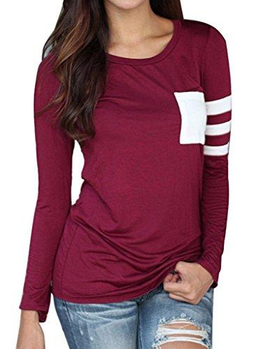 Minetom Donna Autunno Girocollo Manica Lunga T-Shirt con Tasca Top Obertail OL Bluse e Camicie Rosso IT 38