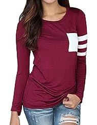 Minetom Mujer De Manga Larga De Cuello Redondo Camiseta Empalmado de Camisa Casual Blusa Suelta de Tops Señora Shirt