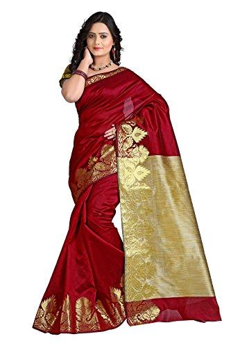 e-VASTRAM Women Dupion Cotton Silk Saree (DSM-4, Maroon)