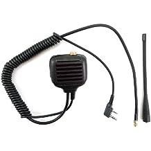 Micrófono de mano con altavoz Zeadio UHF de antena para 2 pin Kenwood Wouxun Baofeng HYT Radio TYT Quansheng Weierwei Linton TK3312 TK2360 TK3360 TK2201 TK3201 TK260 etc.