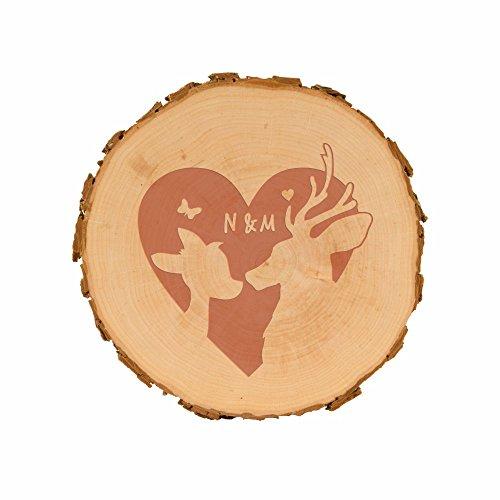 Baumscheibe mit Gravur - Rehe mit Herz (15,5-18cm) - Holzscheibe mit Spruch - Valentinstag Geschenkidee Geschenk Dekoration Wohnaccessoire - Hochzeitsgeschenk - zur Hochzeit - Brautpaar - originell