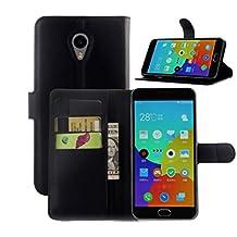 Apanphy Funda Meizu M2 Note, Tapa de Cuero de La PU Case de la Cartera con Ranuras para Tarjetas Incorporadas Flip Cover para Meizu M2 Note Smartphone Case - Negro
