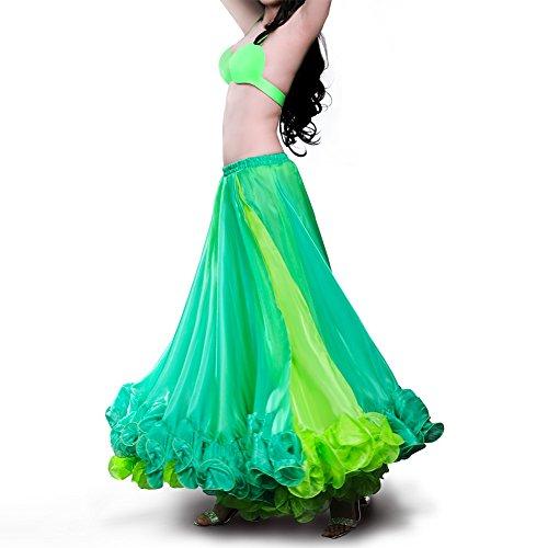 ROYAL SMEELA Bauchtanz-Kleidung Rock für Frauen Tanzendes Kleid Karneval Professionell Tanzen Sie Maxirock Blendend Zweifarbig Große ()