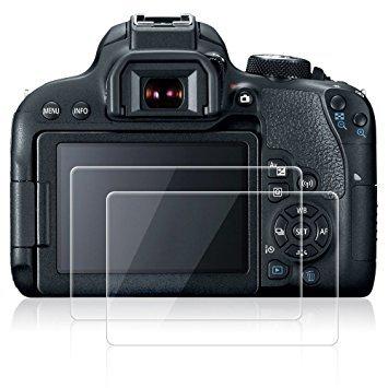 AFUNTA Films de Protection d'Ecran pour Canon EOS 800D, Lot de 2 Protecteurs Imperméables en Verre Trempé Optique pour Caméra Digital DSLR