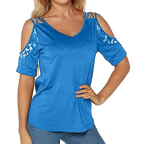 NPRADLA Summer Black Tops für Frauen Cold Shoulder Tops Spitze Patchwork Kurzarm Casual Girls T-Shirt Saum V-Ausschnitt Damen Pullover Gym Sweatshirt