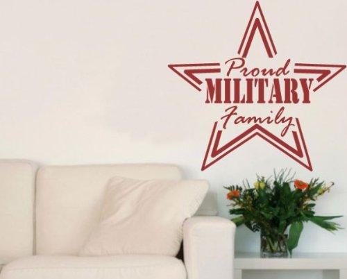 Vinile disturbo hd108proud military family star patriotic vinyl wall decal sticker murale citazioni parole, 91,4cm nero