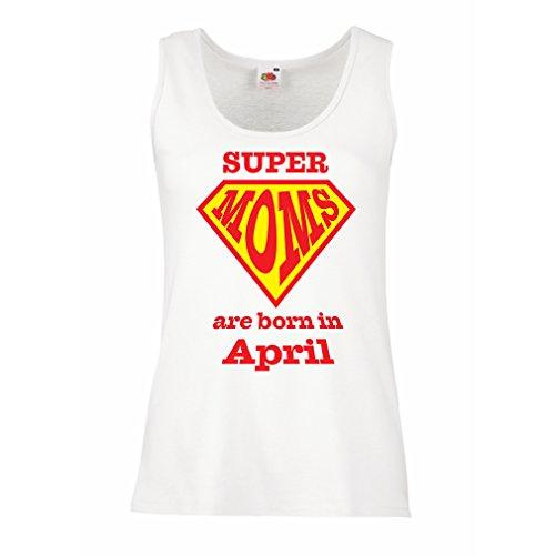 Damen Tank-Top SUPER MOMs sind im April geboren (XX-Large Weiß Mehrfarben)