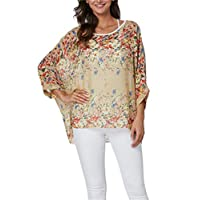 Vanbuy Womens Summer Printed Batwing Sleeve Top Chiffon Poncho Flowy Loose Sheer Blouse Shirt Tunic Z336-43-4349