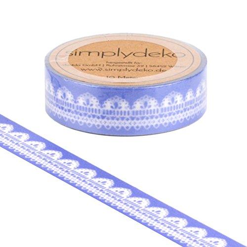 Simplydeko Washi Tape - Masking Tape Vintage und Retro - Wundervolles Washitape Bastel-Klebeband aus Reispapier - Nostalgie Spitze Lavendel