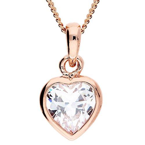 Mya da donna bambini collana catena piccolo cuore con solitario ciondolo in Swarovski Elements in oro rosa placcato oro bianco myargket 21