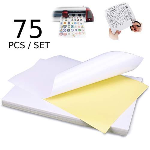 75 fogli lucidi carta adesivo a4 per stampante adesiva di carta per inkjet stampanti laser, autoadesivi etichetta adatti per stampare etichette