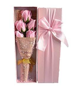 DAYAN 5 pezzi di sapone Fiore Roses Bouquet Di San Valentino Regalo di compleanno Regalo di Natale Colore Rosa