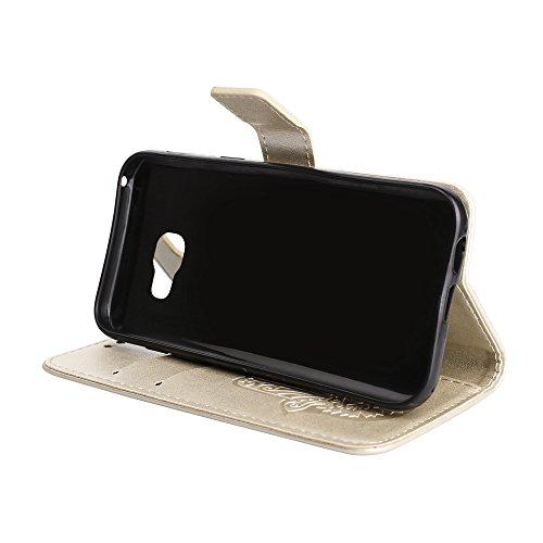 EKINHUI Case Cover Geprägtes Palm Flower Pattern Retro PU Leder Geldbörse Tasche Tasche mit Card Slots und Lanyard für Samsung Galaxy A5 (2017) ( Color : Purple ) Gold