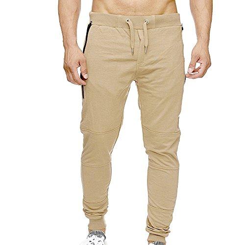 OSYARD Herren Sporthose Jogginghose Sweatpants mit Bündchen Enger Beinabschluss, Zipper Gesteppt Seitentaschen Straight Trainingshose Cargo Pants Freitzeithose (2XL, Khaki)