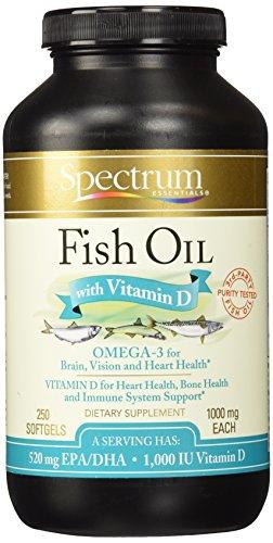 Spectrum Essentials Fish Oil Tablets with Vitamin D, 250-Count Soft Gels [Vitamine & Mineralstoffe Kombinationen]