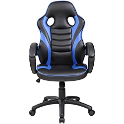 todoparaeldescanso Silla Gamer para Estudio, Escritorio, Oficina, Gaming, Negro y Blanco, Rojo o Azul (Negro-Azul)