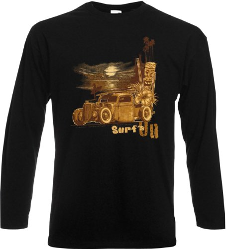 Herren Langarm-Shirt ::: Surf s Up Old Style ::: für echte Car-Driver Schwarz