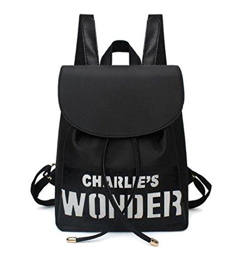 BEIBAO Große Kapazität Doppelte Schulter Tasche Student Schultasche Reise Einkaufen Einfache Oxford Tuch Schwarz, Black Pattern 1 Pattern Oxford