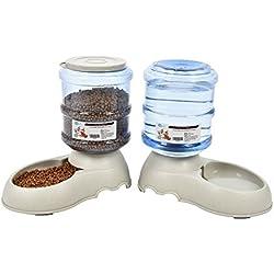 Comederos Automáticos de Alimentos/Fuente de Agua Automática para Perros Gatos y Mascotas-3.75L x 2 Piezas- Cuenco Accesorio Dispensador para Mascotas (sin Necesidad de Batería)
