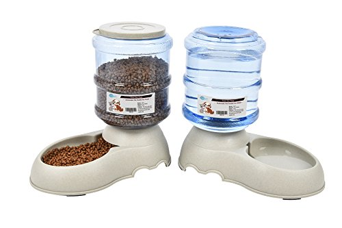 Automatic Pet Feeder Dog/Cat Food/Water Dispenser-2 Pieces-Water Bowl Dish 3.75L(0.99Gals) YGJT