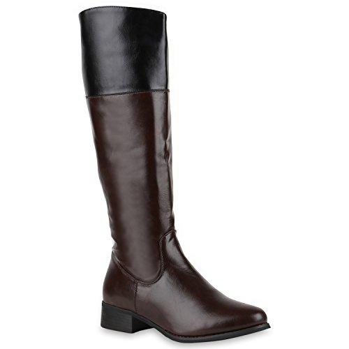 Damen Reiterstiefel Lederoptik Langschaft Boots Klassisch Schuhe 123747 Braun 40 | Flandell® (Kostüme Reitstiefel)