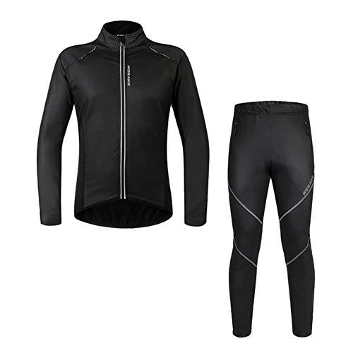 MTSBW Windundurchlässige Thermische Langärmelige Reitanzug Sport Radfahren Jacke Hosen Set Outdoor Warm Langarm PU Leder Fleece,S
