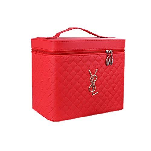Miaoshoping Make Up Koffer Vier Offen PU Zip Tragbare Reise Professionelle Kosmetikkoffer 24 * 17 * 20CM Schwarz - Die Schmutzabweisenden Tücher