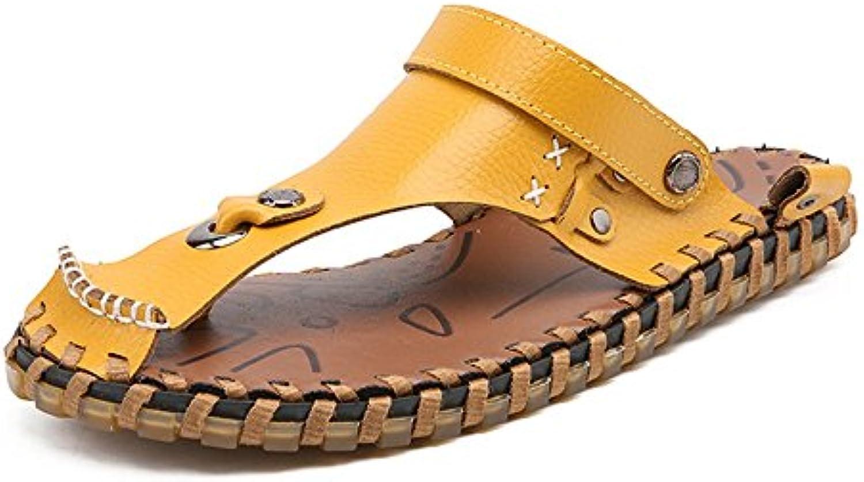 Ruanyi Zapatillas de Playa de Cuero Genuino Zapatillas, Zapatos de Ocio Antideslizante Suave Plana Sandalias sin...