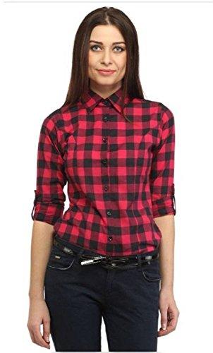Trendy frog Women Long Sleeve Cotton Checker Shirt, Medium Size