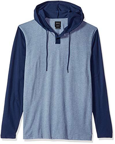 Hooded Long Sleeve Henley (RVCA Herren Pick UP Hooded Long Sleeve Henley Shirt, Seattle Blue, Klein)