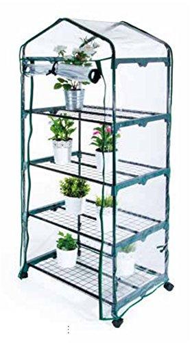 Verdelook serra mobile a 4 ripiani con ruote e telo impermeabile, 69x49x160 cm