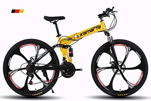 """KTM Bicicleta de montaña Bicicleta Plegable Rueda de 24-26 Pulgadas, Tres Opciones de Cambio (21-24-27), neumático Especial Todoterreno,Yellow,26"""" 24speedchange"""