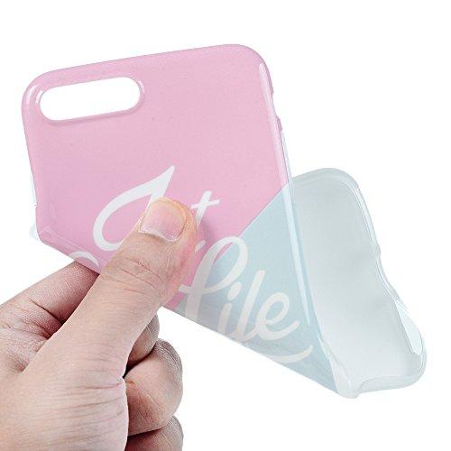 "MAXFE.CO TPU Silikon Hülle für iPhone 7 Plus 5.5"" TPU Handyhülle Schale Etui PGoldective Case Cover Rück Marmor Skin TPU Kantenschutz Schutzhülle Pink + Blau Pink + Blau"