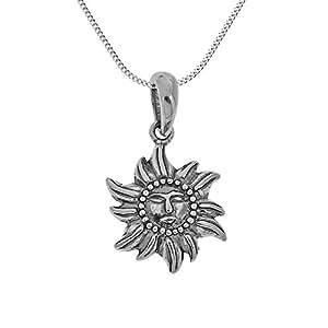 Pendentif hindou Surya soleil charme et chaîne en argent Sterling bijoux