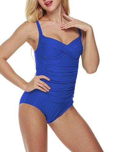 CRAVOG Bikini One Piece Outfit Sommer Strand Tankini Damen Bademode ärmellos Schwimmanzug Swimwear