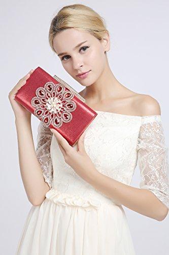 KAXIDY Pochette da Cerimonia Borse a Tracolla Borse Eleganti Pochette da Giorno Rosso