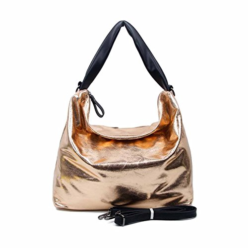 OBC DAMEN TASCHE SHOPPER METALLIC Henkeltasche Handtasche Schultertasche Umhängetasche Hobo-Bag Rose V1 (Geldbörsen Wallets Stoff Handtaschen Tragetaschen)