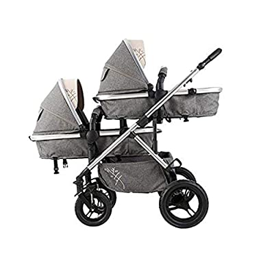 CCJW Multi-Function Baby Stroller for Twins, Two-Way Twins Stroller, Pushchair for 2 Kids, Bidirectional, Can Sit & Lie Down